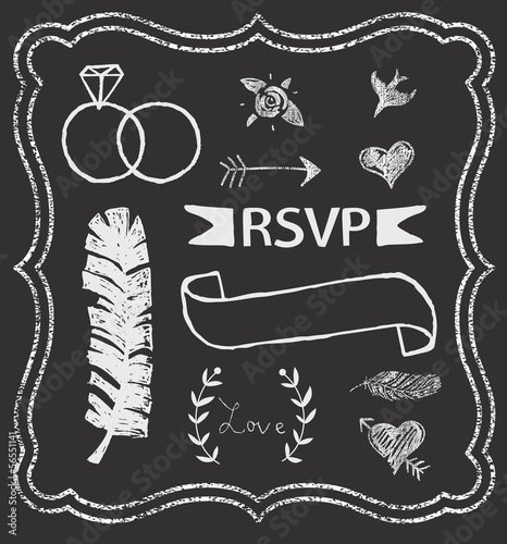 Chalkboard Wedding graphic set, arrows, hearts, laurel, feather,