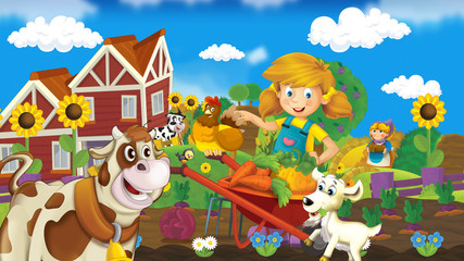 On the farm - illustration for the children
