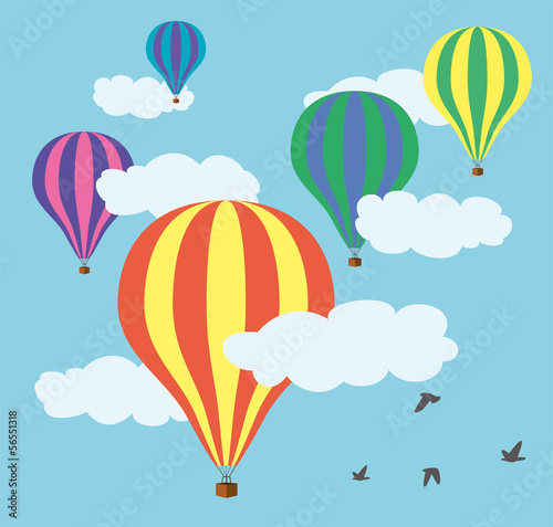 vector hot air balloons in the sky - 56551318