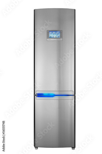 Two door refrigerator isolated on white