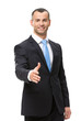 Half-length portrait of businessman hand shake gesturing