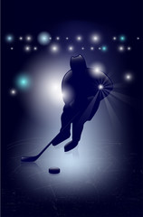 Silhouette of ice hockey player - shiny background