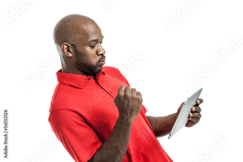 Black Man Playing on Tablet PC