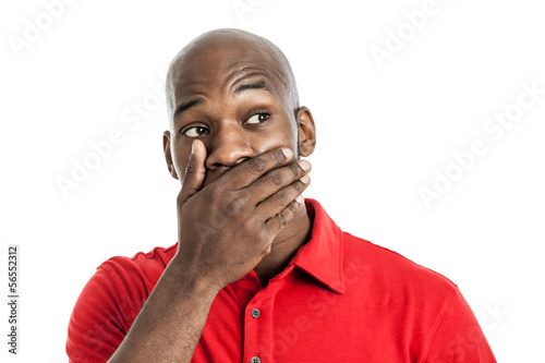 Black man covering mouth isolated on white
