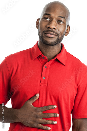 Hungry man daydreaming of food isolated on white
