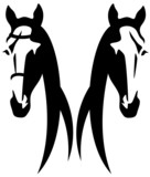 horse head abstract design - black and white vector