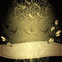 Black-gold vintage floral frame