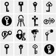 Key vector icons set on gray.