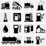 Oil vector icons set on gray.