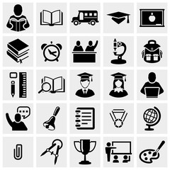 School and Education vector icons set on gray.