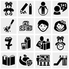 Preschool vector icons set on gray.