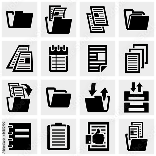 Document vector icons set on gray.