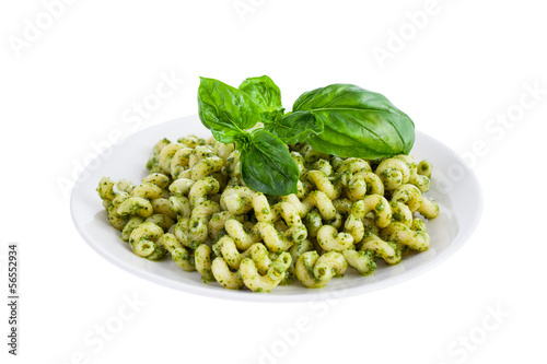 Pesto Pasta isolated on white