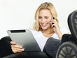 Nice women working at home with mobile devices