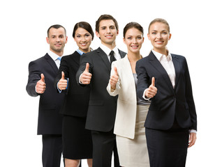 Portrait of thumbing up group of business people