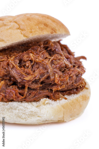 Pulled Pork Sandwich isolated on white