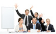 Group of business people with hands up near the copyspace work
