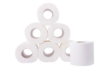 Pile of toilet paper rolls isolated on white background.