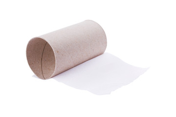Last sheet of toilet paper isolated on white.
