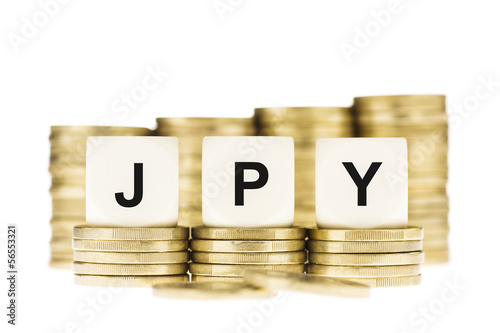 JPY (Japanese Currency) over  Gold Coin Stack Isolated on White