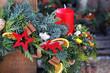 weihnachtlicher dekokranz mit sternen und rentier