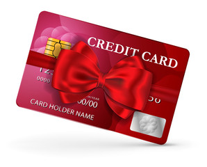 Credit or debit card design with red ribbon and bow