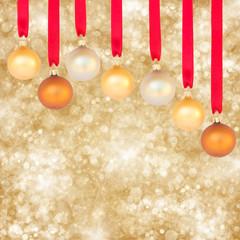 chrismas balls on golden background
