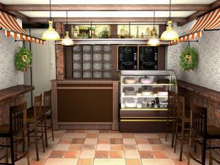 3d rendering an interior of a cafe in the French style