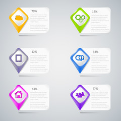 Colorful pointers with infographic elements