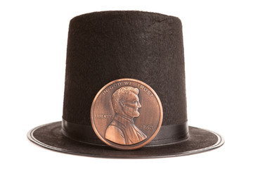 Abraham Lincoln hat and commemorative penny