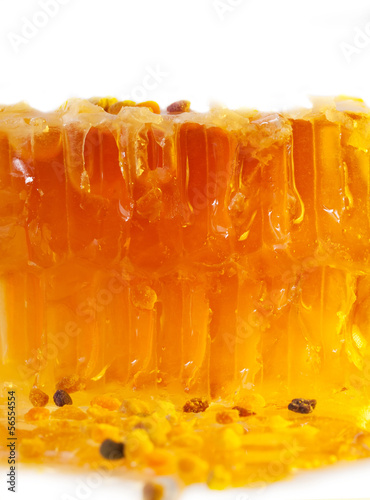 golden fresh Honeycomb and bee pollen. texture