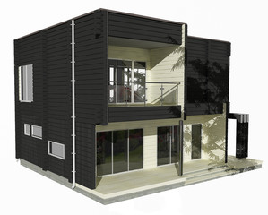 3d model of two-story black and white wooden house