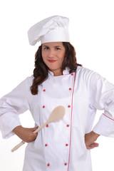 joven mujer chef cocinero sujetando una cuchara.