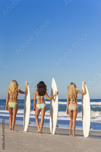 Beach Women Surfer Girls In Bikinis & Surfboards