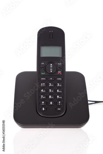 Black cordless phone isolated on white background