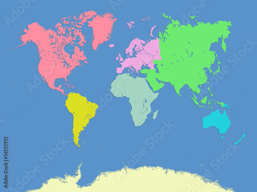 World and continents map