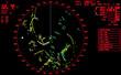 Black and red modern ship radar screen - 56557139