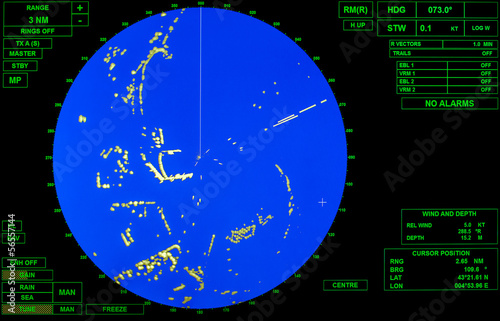Modern ship radar screen with blue round map