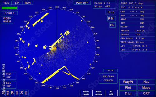 Blue modern ship radar screen with round map