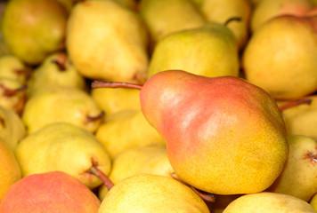 Ripe pears in market