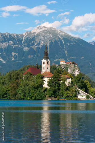 Lake Bled, church and castle