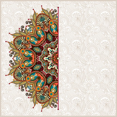 ornamental template with circle floral background