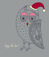 original ornamental christmas owl, concept winter illustration,