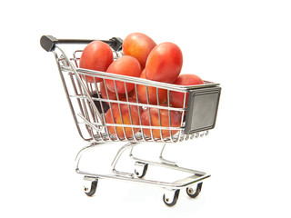Shopping cart filled with red plums