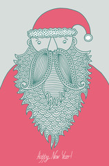 original hipster santa claus, modern graphic style, merry christ