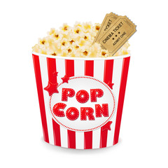 Popcorn In Cardboard Box With Tickets Cinema