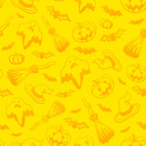 Yellow vector Halloween seamless pattern