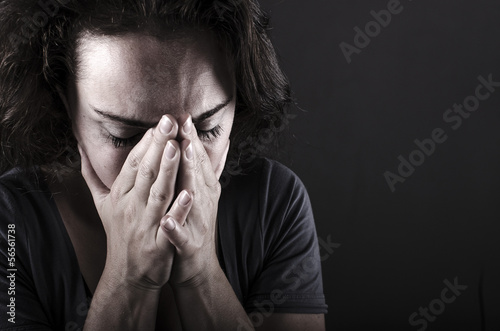 depressed woman facial close up