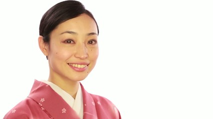 Asian woman wearing Japanese traditional kimono