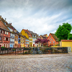 Colmar, Petit Venice, bridge, bike and houses. Alsace, France.